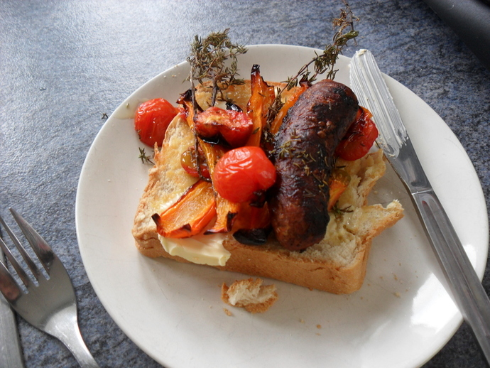 Baked sausage and veg