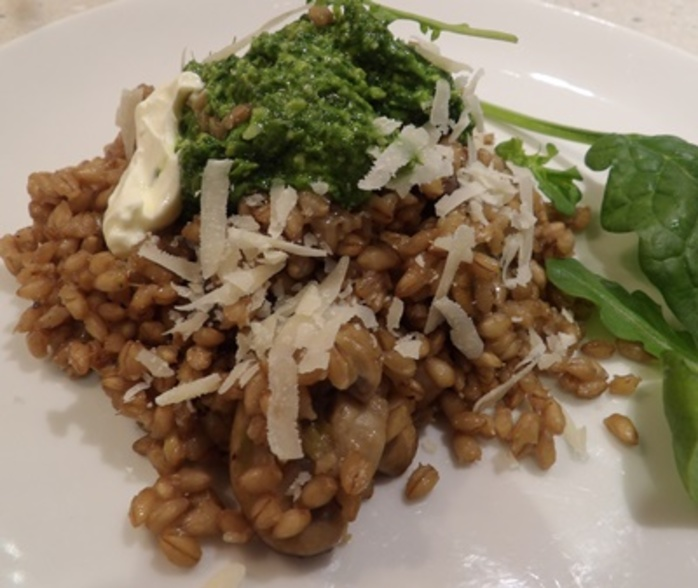 plated,barley,mushroom,and,pesto