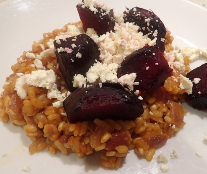 plated,beetroot,risotto,with,feta