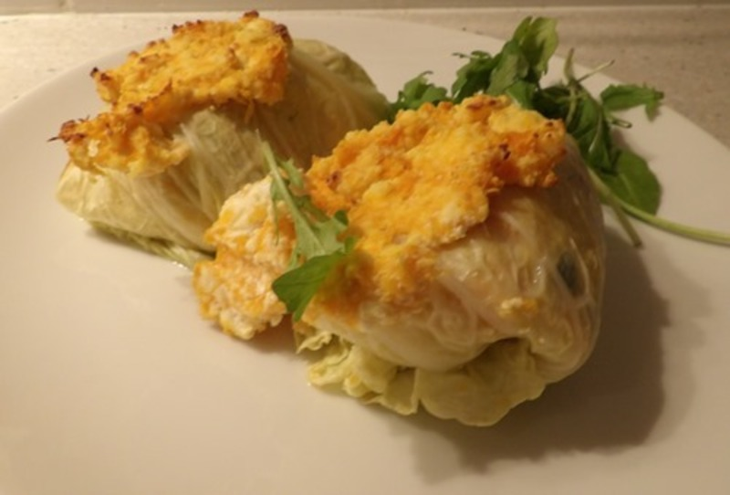 plated,cabbage,parcels,with,ricotta,pumpkin,sauce  - Cabbage Vegetable Parcels With Pumpkin Ricotta Sauce