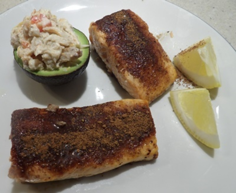 mixing,the,onions,and,cacao  - Fresh Salmon with Cacao and an Orange Salsa