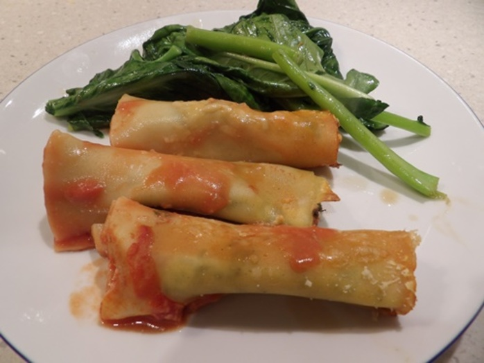 plated,cannelloni,with,ricotta,spinach,and,gai,lan