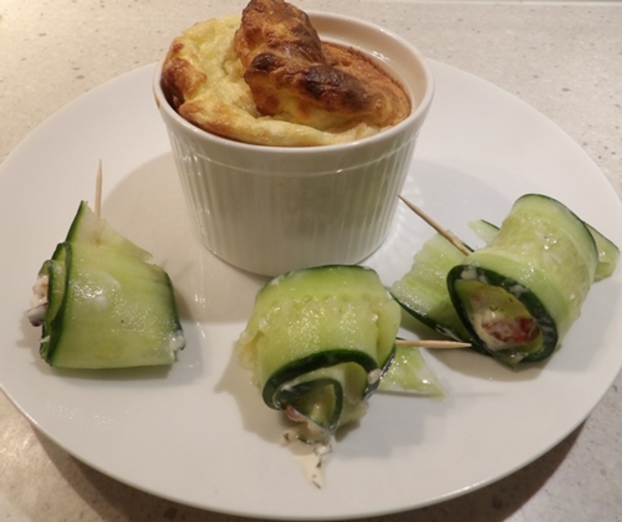 plated,cucumber,roll,ups,with,blue,cheese,souffle