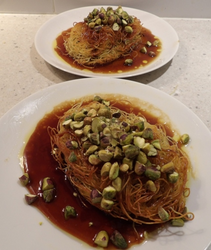 plated,pasta,nests,with,toffee,and,pistachios