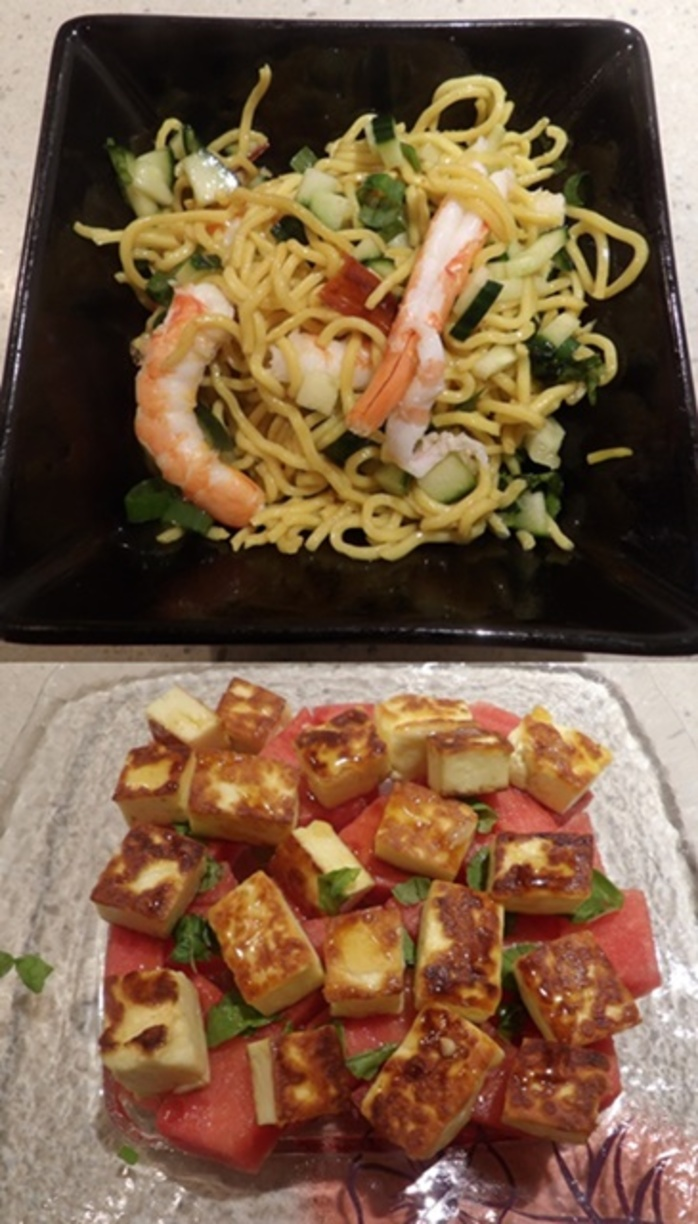 plated,prawn,chili,noodles,with,watermelon,and,haloumi,salad