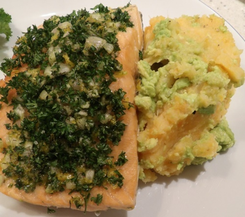 plated,salmon,with,herbs,and,mixed,mash  - Baked Salmon with Herbs, and Avocado, Potato and Parsnip Mash