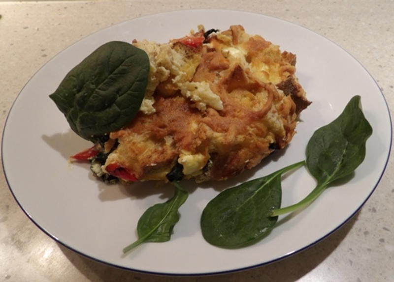 baked,sour,dough,cream,cheese,vegetable,stratta