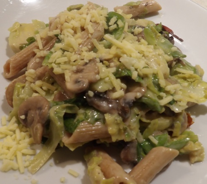 cooking,mushrooms,and,brussel,sprouts