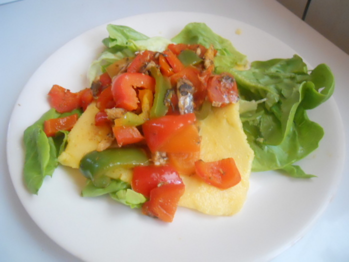 polenta, pepper, salad