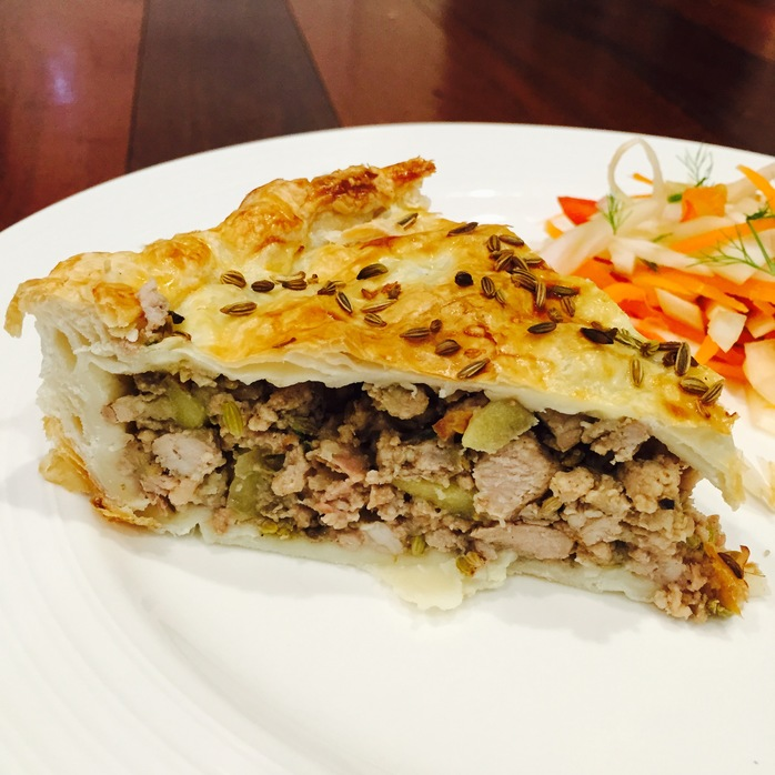 Pork Fennel And Apple Pie With Slaw