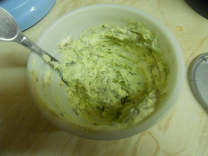 potato salad, avocado, cream cheese, chives