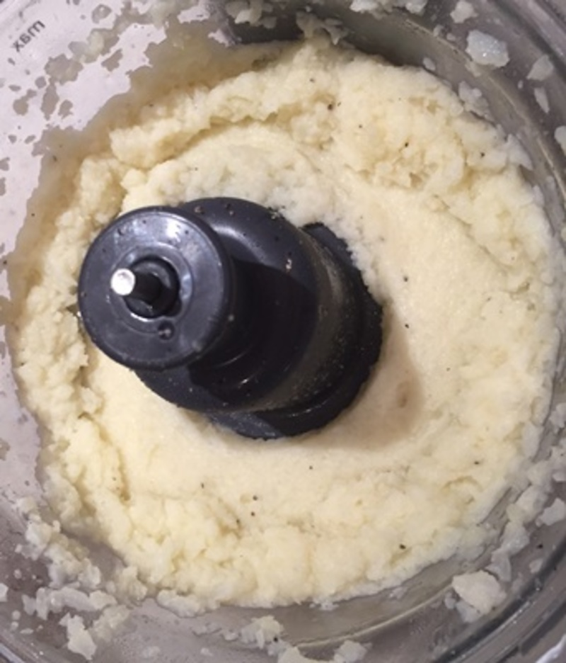 processing,cauliflower,to,a,smooth,paste  - Mashed Cauliflower Covered Chicken