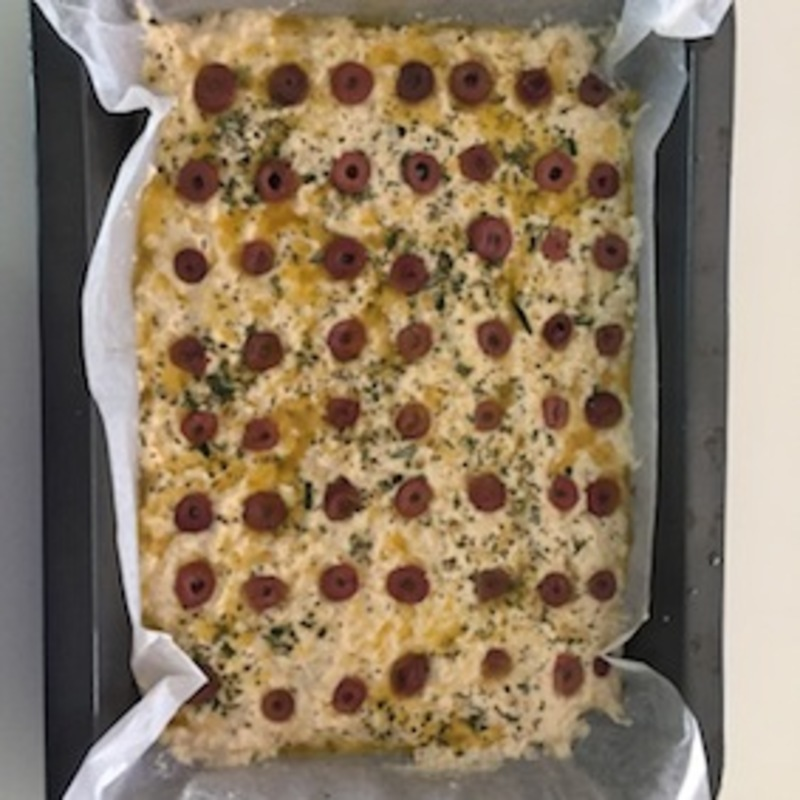 Easy olive rosemary focaccia sliced  - Easy Olive And Rosemary Focaccia
