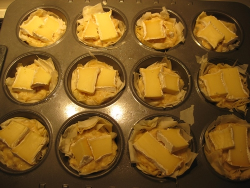 putting,camembert,on,top,of,quiches  - Crab And Camembert Cheese In Filo Pastry