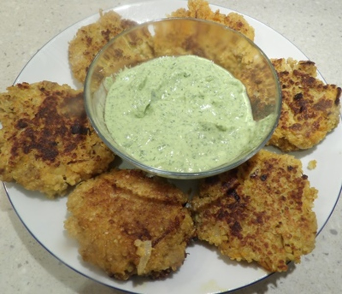 quinoa and sweet potato patties, with coriander and avocado sauce