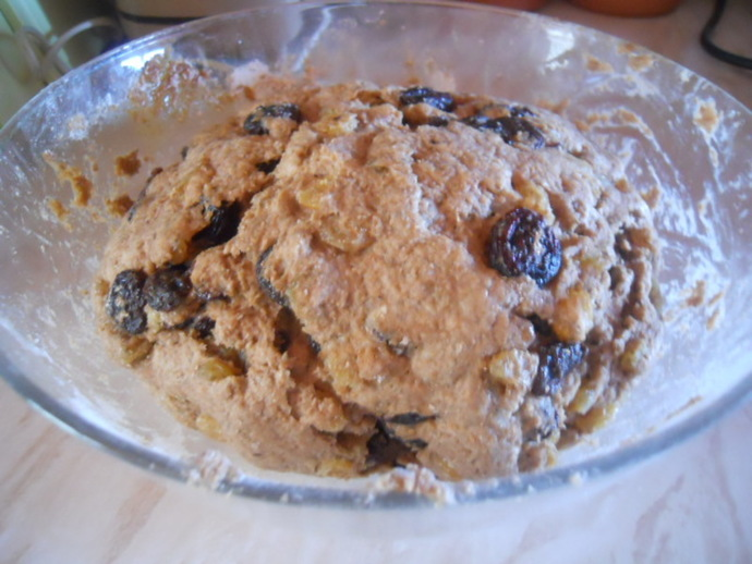 raisin and rye bread, proved bread