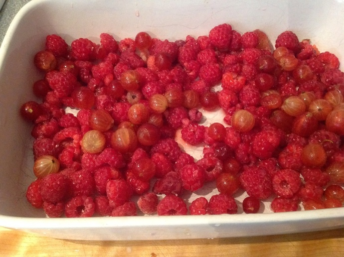 Raspberries, gooseberries, punnet