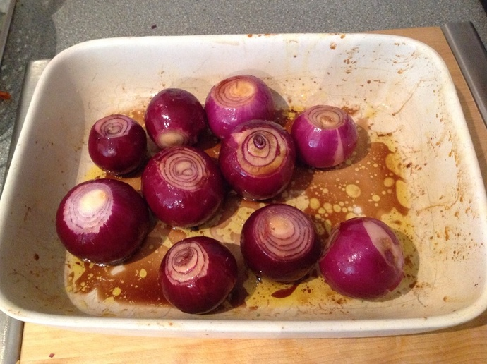Red onions, balsamic vinegar, olive oil