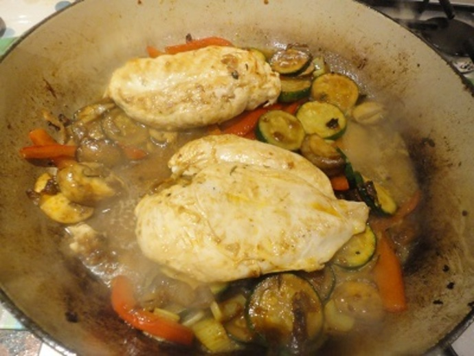 Lightly fry the onion, courgettes, peppers, courgettes and mushrooms