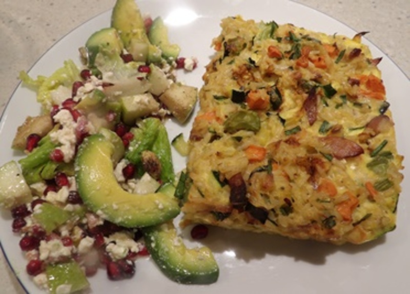 rice,custard,plated,with,pomegranate,pear,salad  - Savoury Rice and Bacon Custard with Salad