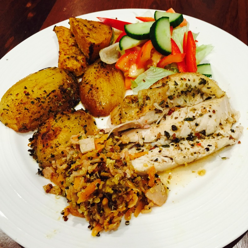 Roast Chicken With Zesty Quinoa And Macadamia Stuffing