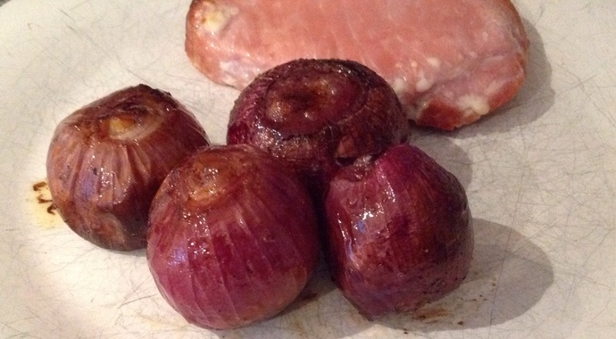 roasted red onions, cured pork loin