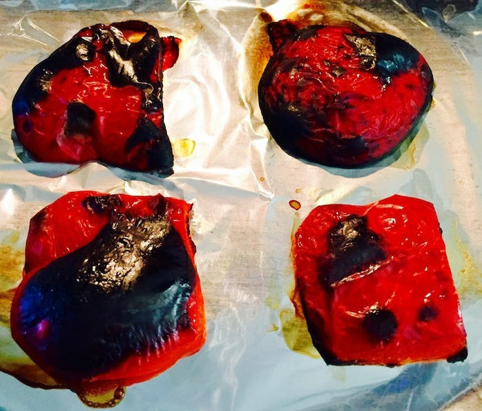 Roasted capsicum will blister and blacken
