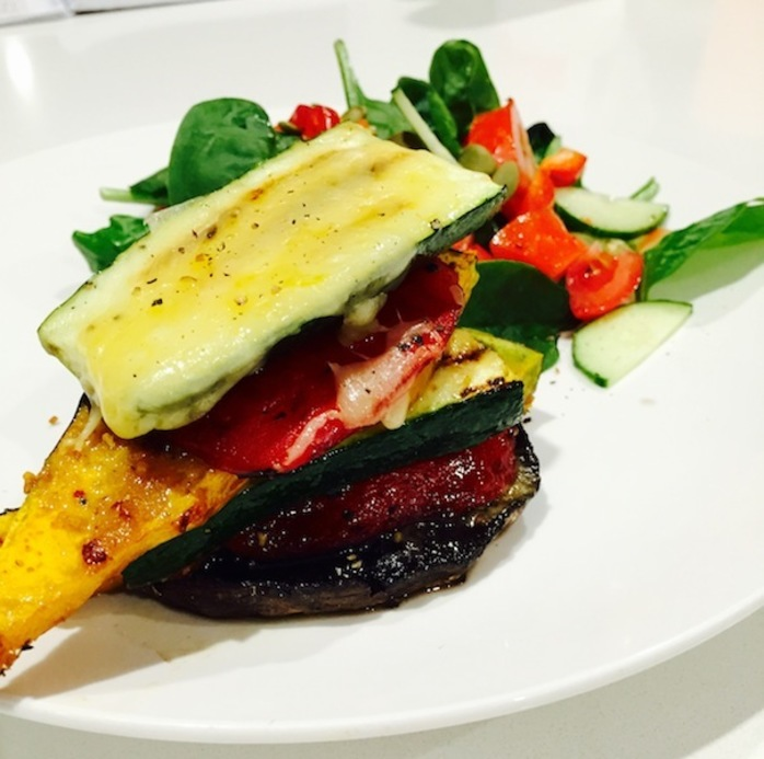 Roasted Mushroom And Vegetable Stack With Baby Spinach And Pepita Salad