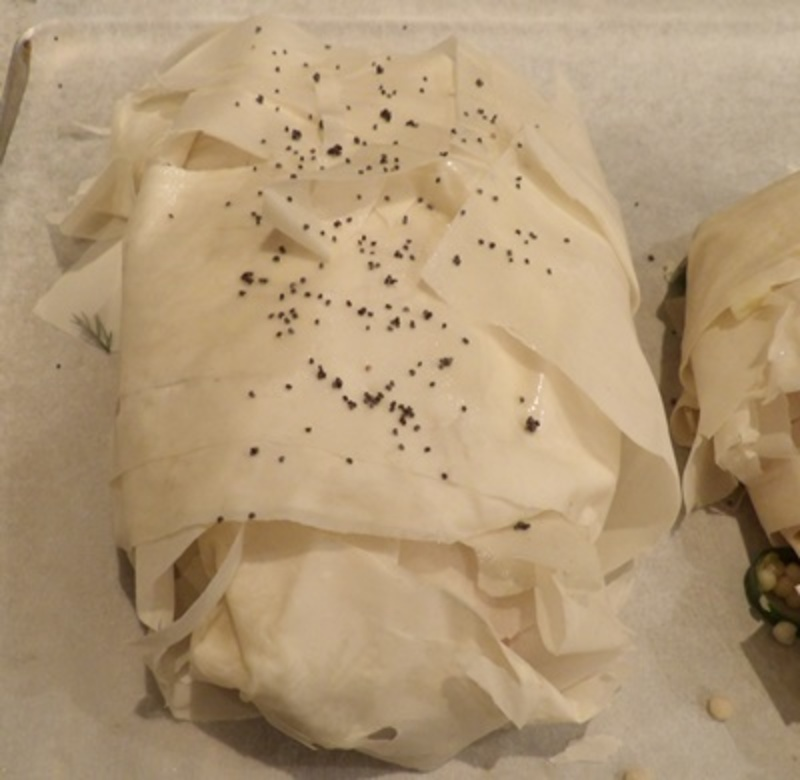 mixing,filling,for,salmon,parcels  - Salmon, Couscous and Dill Parcels with a Blue Cheese Coleslaw