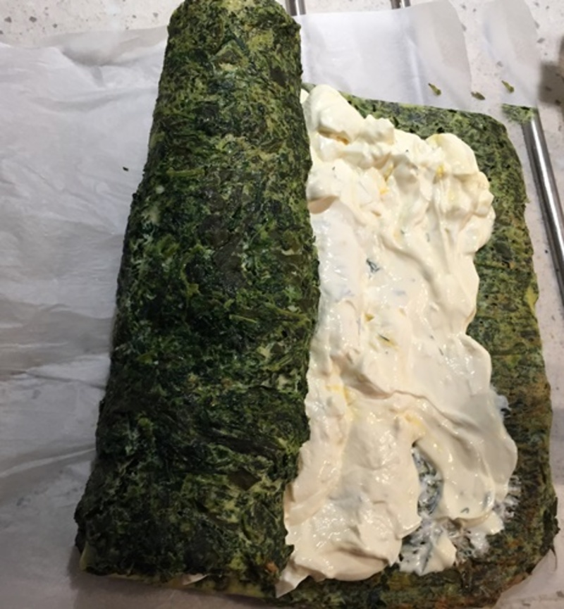 mixing,spinach  - Spinach Roulade with Cream Cheese Filling