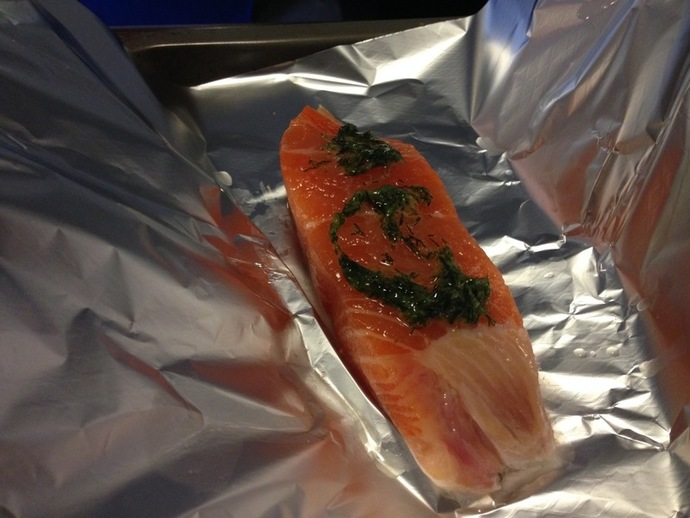 salmon with lemon and capers, salmon, fish, dinner