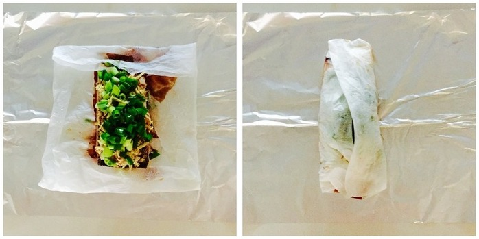 Salmon, Ginger And Soy Parcels Montage