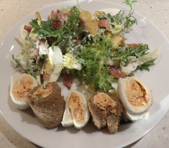salmon,pinwheels,with,bacon,egg,and,endive,salad