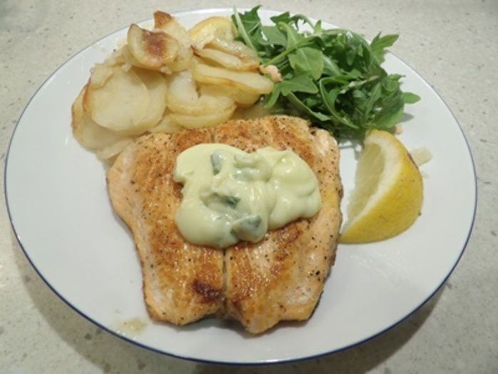 Salmon,with,wasabi,mayonnaise,and,boulangere,potatoes