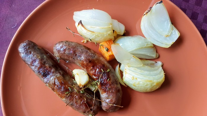 Sausage and Sweet Potato Bake with onion and garlic