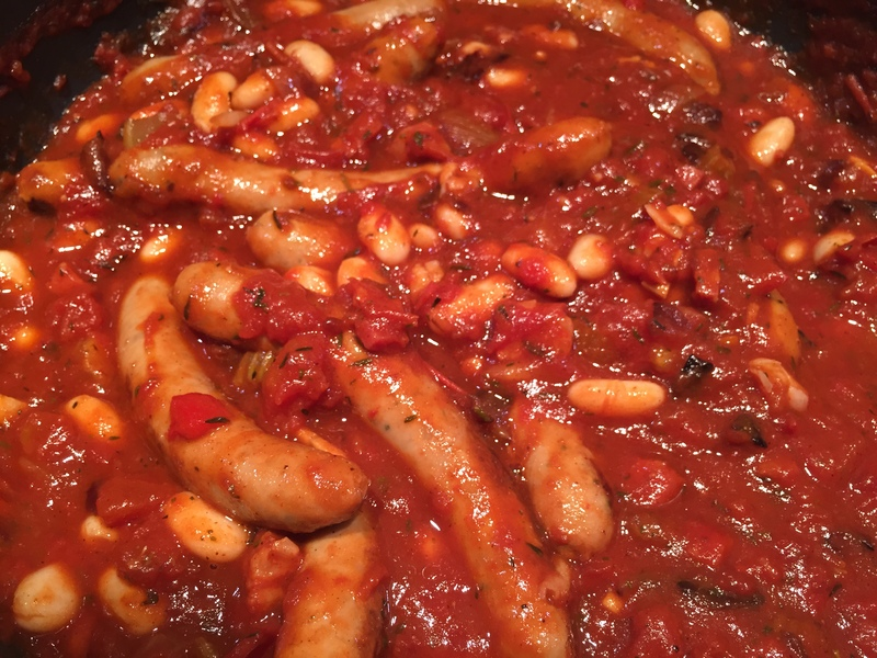 Sausage casserole, one pot, family meals times   - Sausage, Tomato and Canellini Casserole