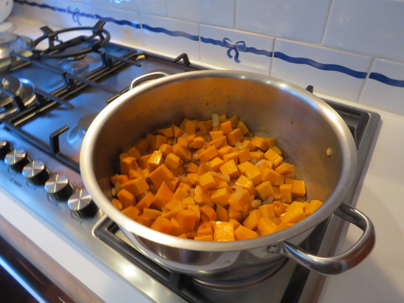saute onion and pumpkin