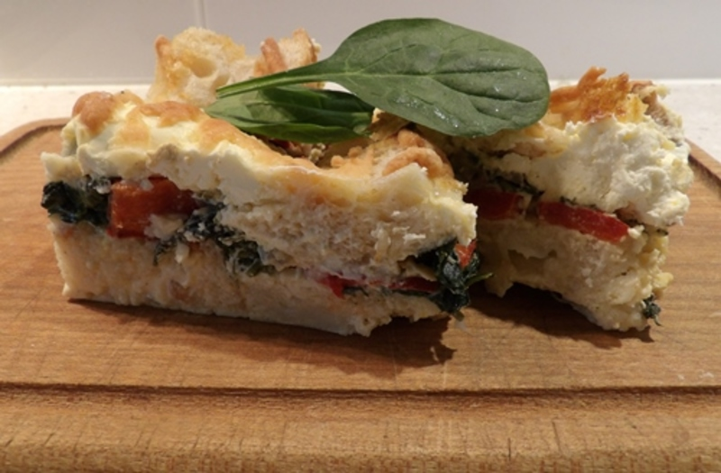 savoury,sour,dough,bread,pudding,with,cream,cheese,and,vegetables