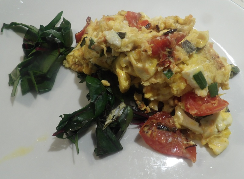 scrambled,feta,eggs,with,spinach,and,tomatoes  - Quick and Easy Feta Scrambled Eggs Brunch