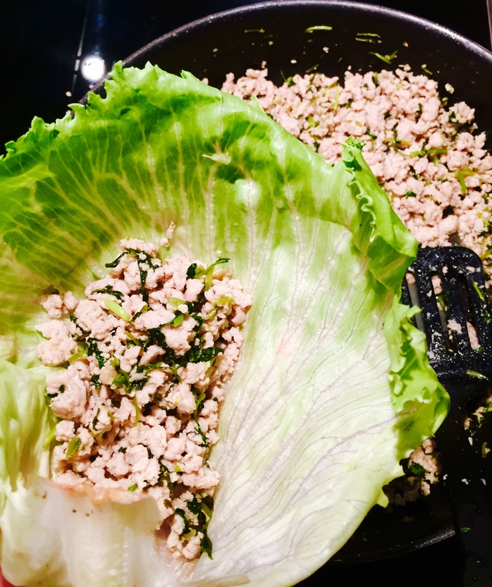 Coriander And Lime Chicken Lettuce Cups