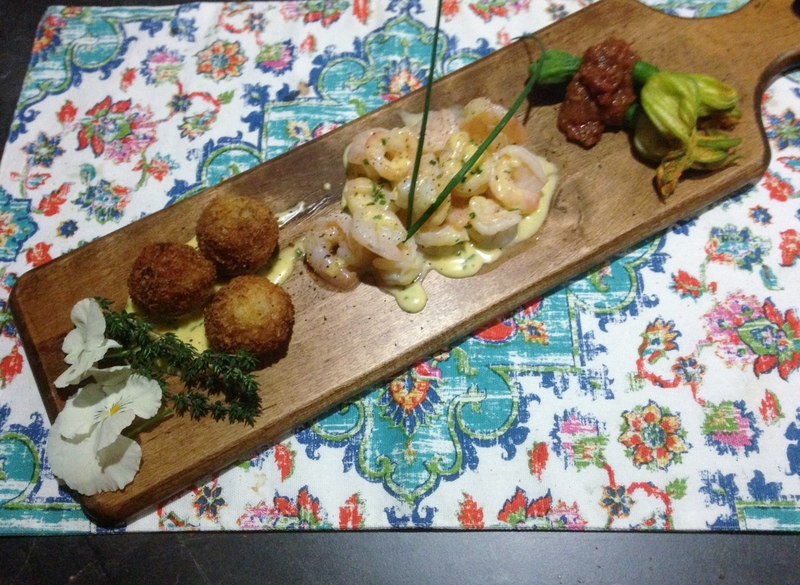 Served  - Bearnaise Prawns With Bacon Arancini And Baby Zucchini Provencale