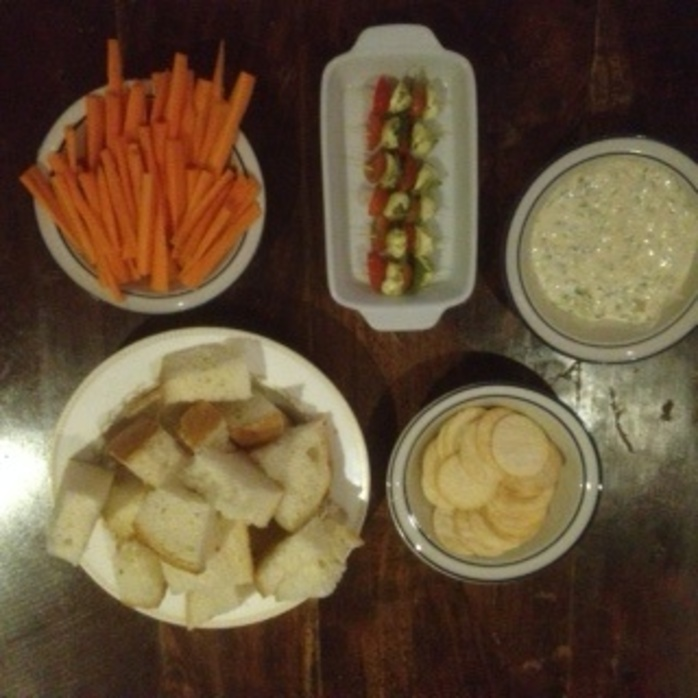 Skewers with dip and carrots