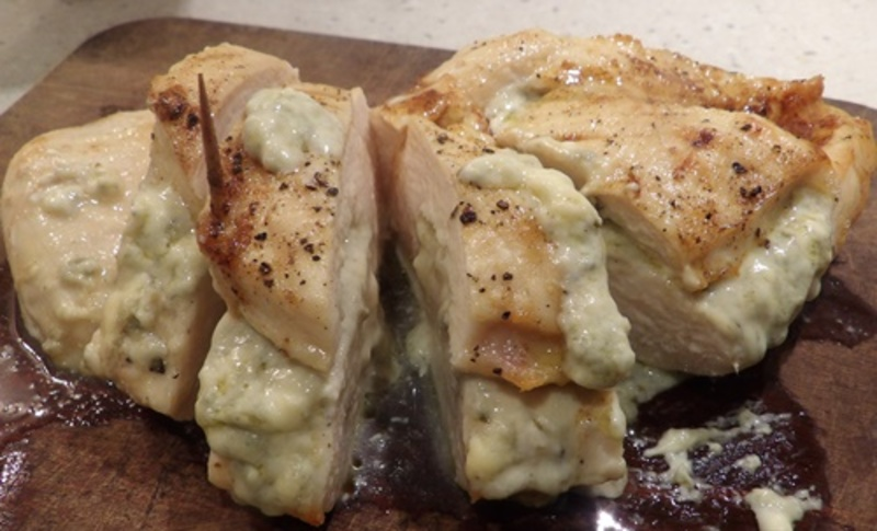 making,sauce,for,cooking,chicken,stuffed,with,blue,cheese  - Chicken Fillet filled with Blue Cheese, with Capsicum Sauce Vegetables