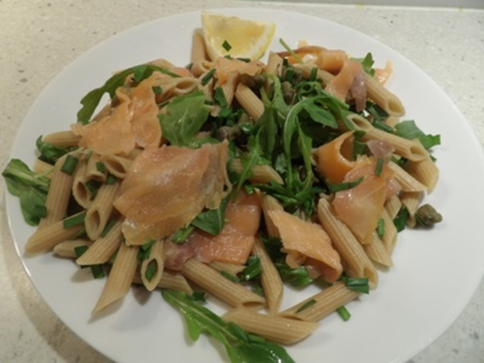 smoked,salmon,with,pasta,and,asparagus