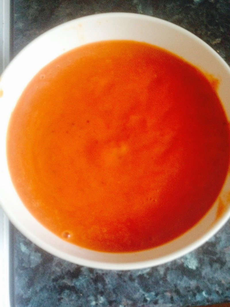 Smooth puréed sauce   - Italian Style Chicken Meatballs with Homemade Tomato and Red Pepper Sauce