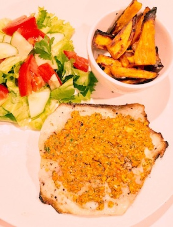 Snapper With Spicy Capsicum Pesto And Roast Sweet Potato