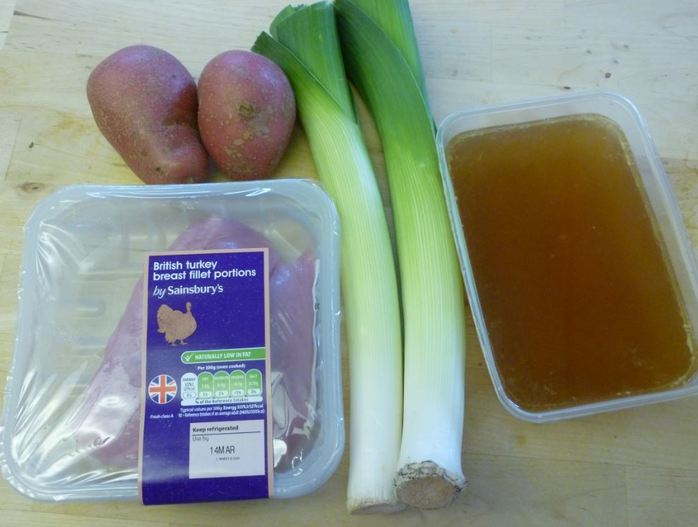 soup ingredients turkey leek stock homemade cooking food