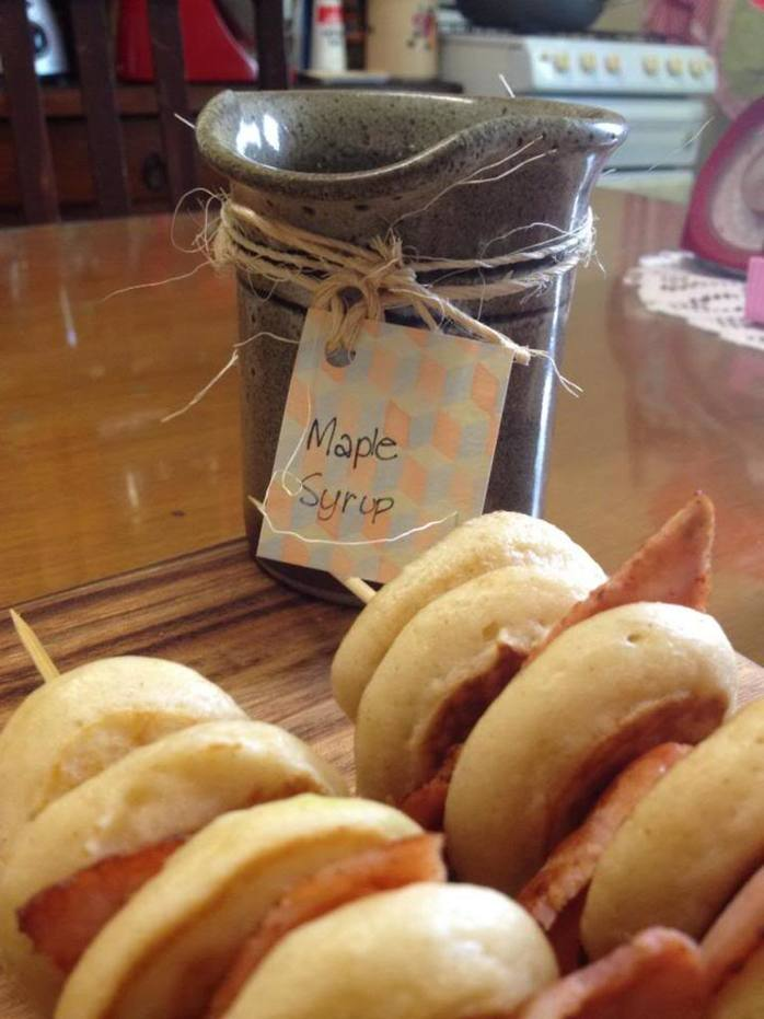Spiced Pikelet and Bacon Skewers