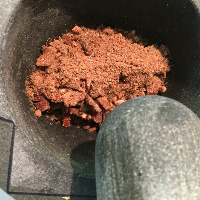Spices in mortar and pestle