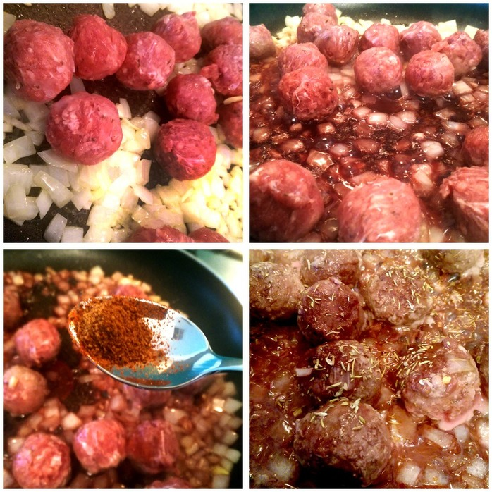 Spicy Red Wine Meatballs Montage